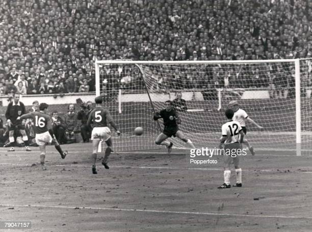 World Cup Final Wembley England 30th July 1966 England 4 v West Germany 2 England's Martin Peters volleys home his late goal in the second half past...