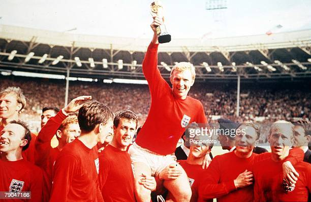 World Cup Final Wembley England 30th July 1966 England 4 v West Germany 2 Englands captain Bobby Moore holds aloft the Jules Rimet World Cup trophy...