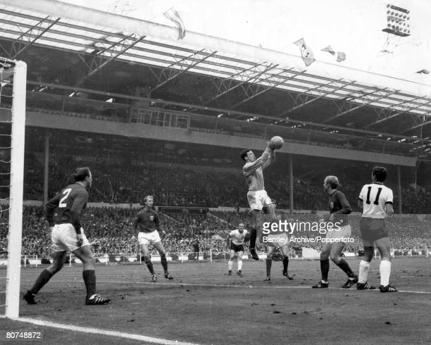 World Cup Final Wembley England 30th July 1966 England 4 v West Germany 2 England's goalkeeper Gordon Banks comes out to punch clear a West German...