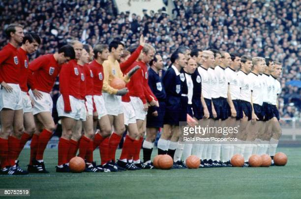 World Cup Final Wembley England 30th July 1966 England 4 v West Germany 2 The two Finalists line up before the match with the referee and linesmen