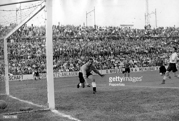 World Cup Finals 1954 Basle Switzerland England 4 v Belgium 4 17th June England goalkeeper Gil Merrick watches as the ball goes into the net for a...