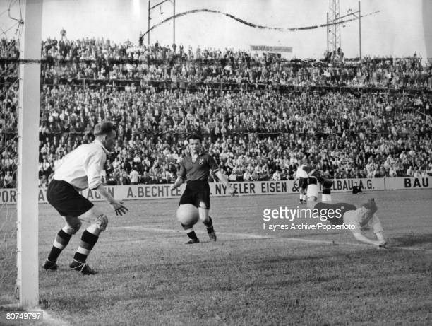 World Cup Finals 1954 Basle Switzerland England 4 v Belgium 4 17th June England player Nat Lofthouse makes a diving header to score England's second...
