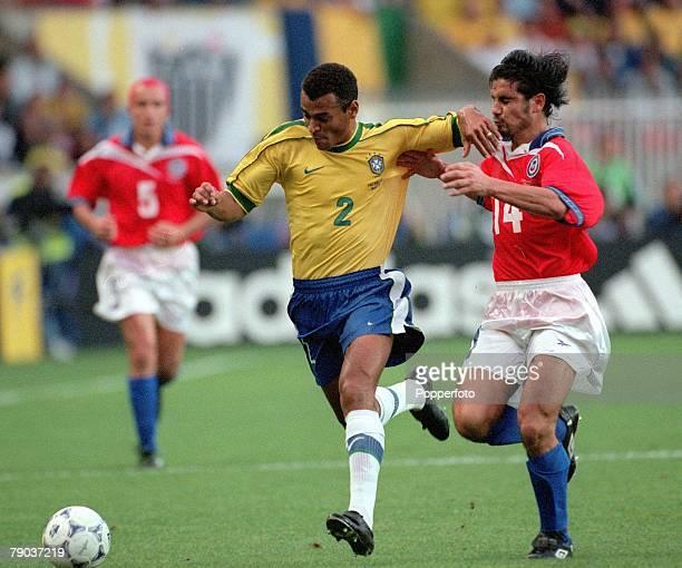 World Cup Finals 2nd Round Paris France 27th June Brazil 4 v Chile 1 Brazil's Cafu beats Chile's Miguel Ramirez