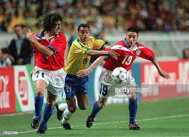 World Cup Finals 2nd Round Paris France 27th June Brazil 4 v Chile 1 Brazil's Denilson with Chile's Marcelo Salas Fernando Cornejo