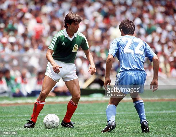 World Cup Finals Azteca Stadium Mexico 11th June Mexico 1 v Iraq 0 Mexico's Miguel Espana on the ball faced by Iraq's Al Roubai