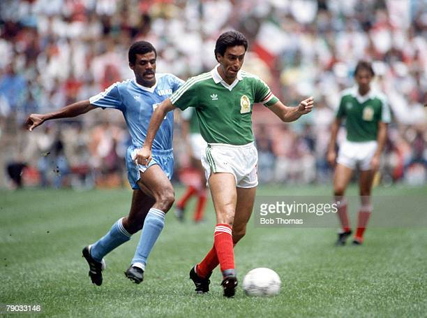 World Cup Finals Azteca Stadium Mexico 11th June Mexico 1 v Iraq 0 Mexico's Tomas Boy is challenged for the ball by Iraq's Shahib