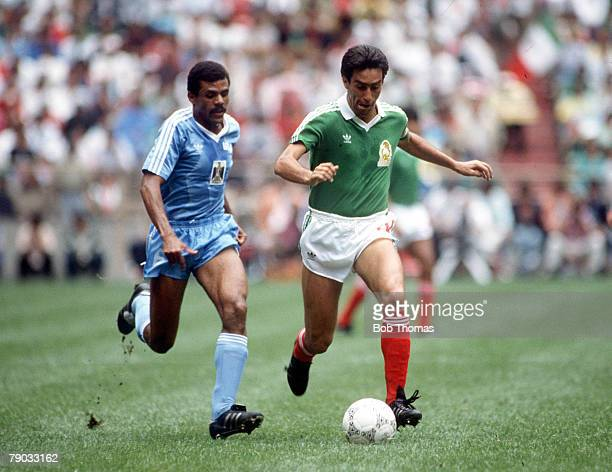 World Cup Finals Azteca Stadium Mexico 11th June Mexico 1 v Iraq 0 Mexico's Tomas Boy is chased for the ball by Iraq's Shihab