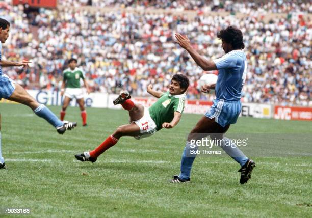 World Cup Finals Azteca Stadium Mexico 11th June Mexico 1 v Iraq 0 Mexico's Luis Flores takes a shot at goal past Iraq's Salim
