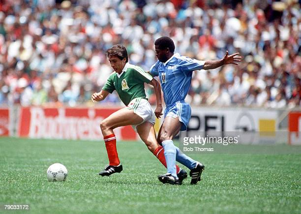 World Cup Finals Azteca Stadium Mexico 11th June Mexico 1 v Iraq 0 Mexico's Manuel Negrete is challenged by Iraq's Shihab