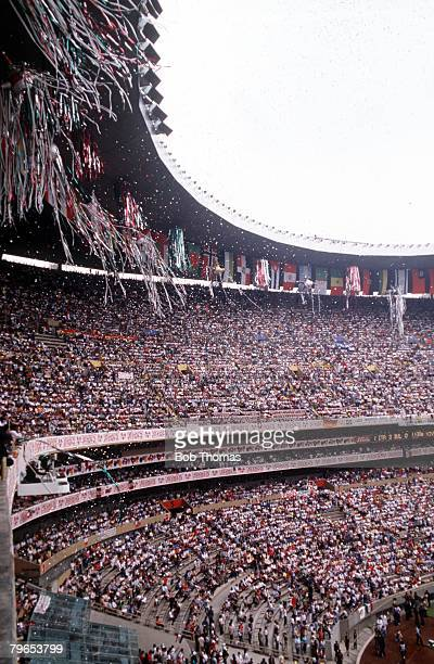 World Cup Finals, Azteca Stadium, Mexico, 31st May Opening Ceremony, A general view shows a small section of the vast crowd in the stadium during the...