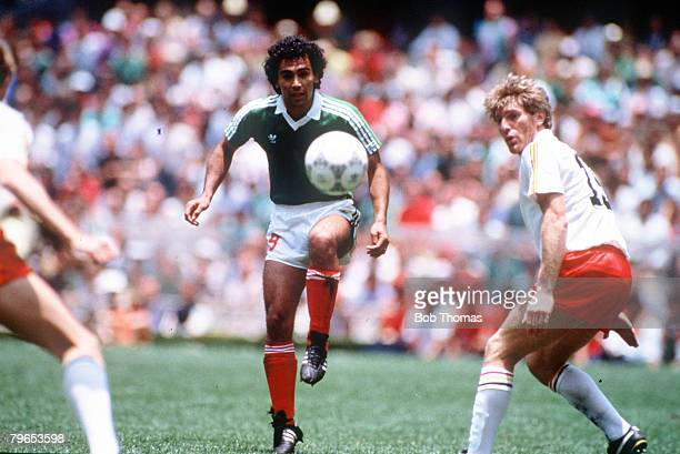 World Cup Finals Azteca Stadium Mexico 3rd June Mexico 2 v Belgium 1 Mexico's Hugo Sanchez with the ball