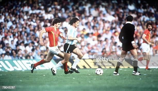 World Cup Finals Barcelona Spain 13th June Argentina 0 v Belgium 1 Argentina's Daniel Bertoni is chased by Belgium's Erwin Van Den Bergh