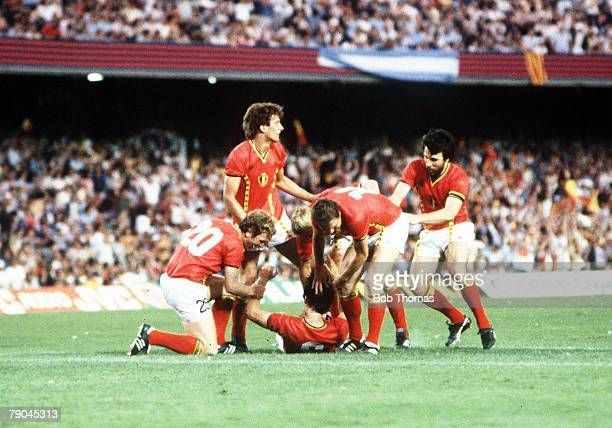 World Cup Finals Barcelona Spain 13th June Argentina 0 v Belgium 1 Belgium's Erwin Vandenbergh congratulated by teammates after scoring the only goal