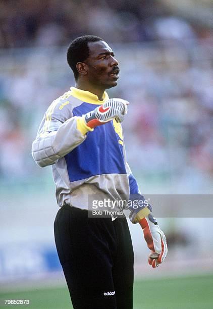 World Cup Finals Bari Italy 14th June Cameroon 2 v Romania 1 Cameroon goalkeeper Thomas N'Kono