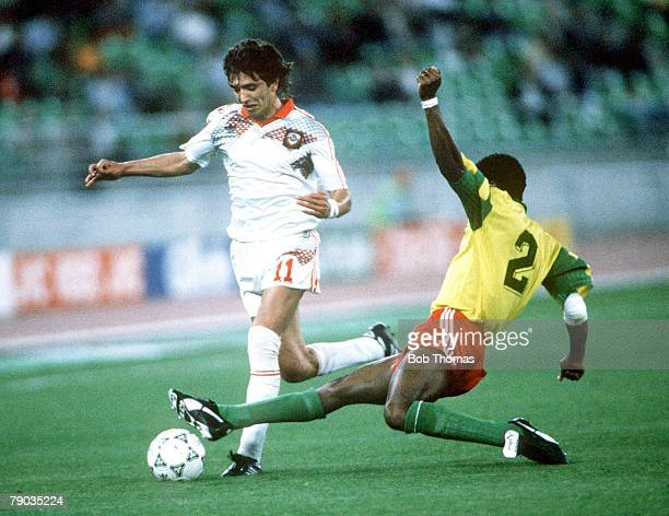 World Cup Finals Bari Italy 18th June USSR 4 v Cameroon 0 USSR'S Igor Dobrovolski is challenged by Cameroon's Andre Kana Biyick