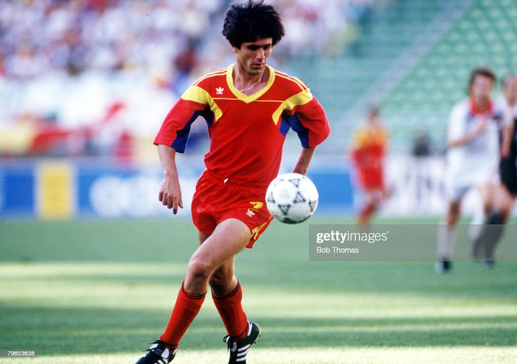 1990 World Cup Finals, Bari, Italy, 9th June, 1990, Romania 2 v USSR 0, Romania's Marius Lacatus on the ball : News Photo