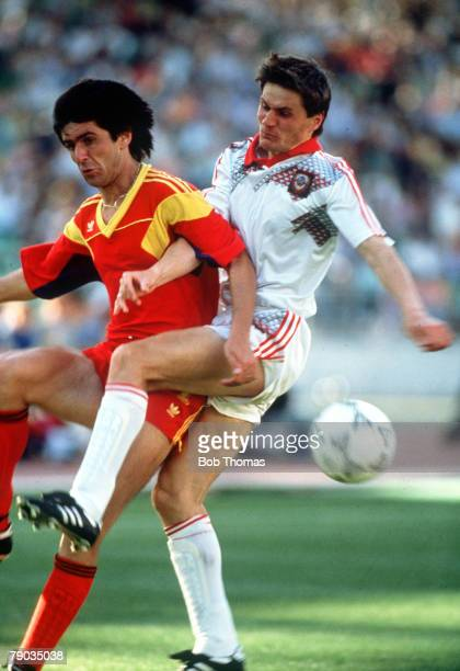 World Cup Finals Bari Italy 9th June Romania 2 v USSR 0 USSR's Vasili Rats challenges Romania's Marius Lacatus for the ball