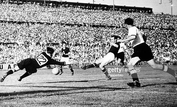World Cup Finals Basle Switzerland 20th June Hungary 8 v Germany 3 Hungary's Budai shoots past German goalkeeper Turek to score during their Group...