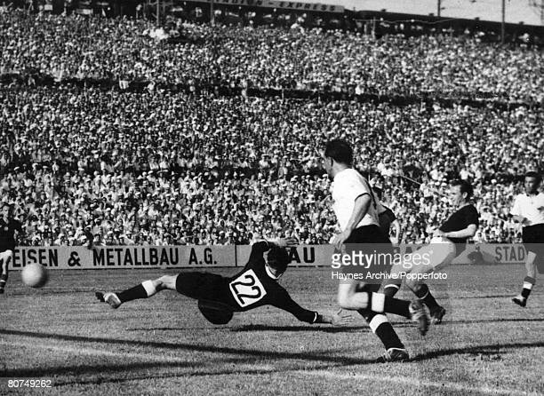 World Cup Finals Basle Switzerland 20th June Hungary 8 v Germany 3 German goalkeeper Kwiatkowski is beaten by a Hungarian forward during their Group...