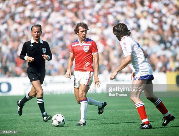 World Cup Finals Bilbao Spain 16th June England 3 v France 1 England's Trevor Francis is faced by France's Rene Girard