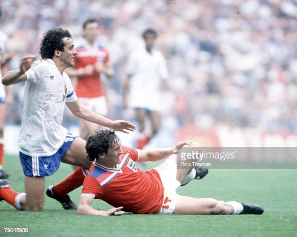 World Cup Finals Bilbao Spain 16th June England 3 v France 1 England's Bryan Robson and France's Michel Platini