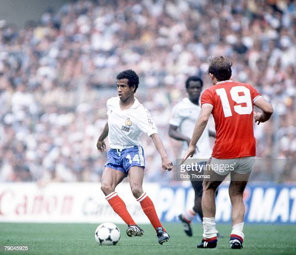 World Cup Finals Bilbao Spain 16th June England 3 v France 1 France's Jean Tigana is faced by England's Ray Wilkins