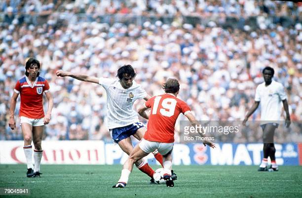 World Cup Finals Bilbao Spain 16th June England 3 v France 1 France's JeanFrancois Larios is challenged by England's Ray Wilkins