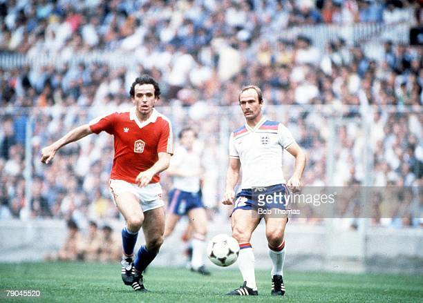 World Cup Finals Bilbao Spain 20th June England 2 v Czechoslovakia 0 Czechoslovakia's Ladislav Vizek races away from England's Mick Mills