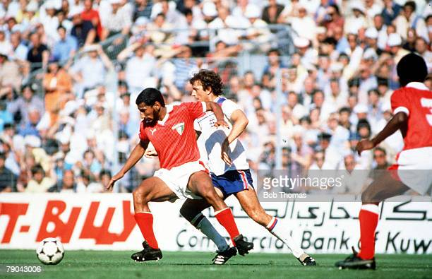 World Cup Finals Bilbao Spain 25th June England 1 v Kuwait 0 England's Trevor Francis races for the ball with Kuwait's Al Boloushi