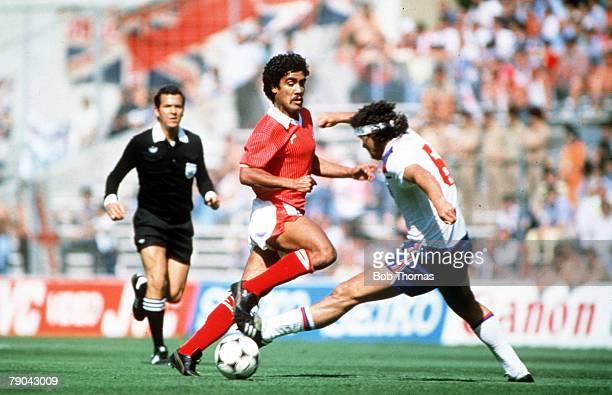 World Cup Finals Bilbao Spain 25th June England 1 v Kuwait 0 England's Steve Foster tackles Kuwait's Al Dakhil