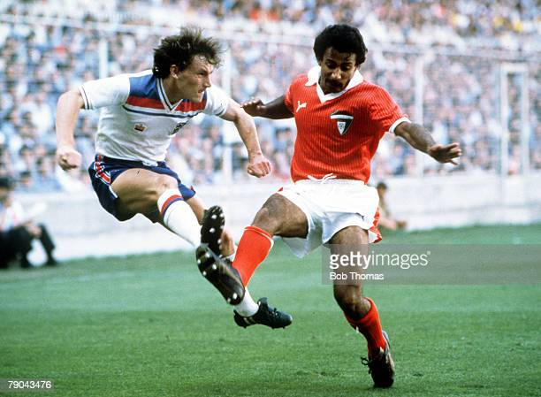 World Cup Finals Bilbao Spain 25th June England 1 v Kuwait 0 England's Steve Coppell crosses the ball past Kuwait's Waleed Jasem