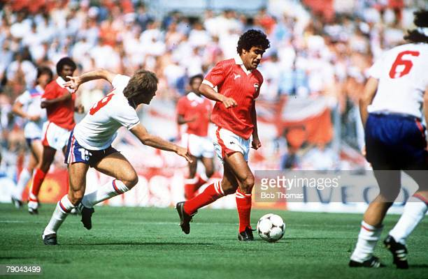 World Cup Finals Bilbao Spain 25th June England 1 v Kuwait 0 England's Ray Wilkins chases Kuwait's Al Dakhil