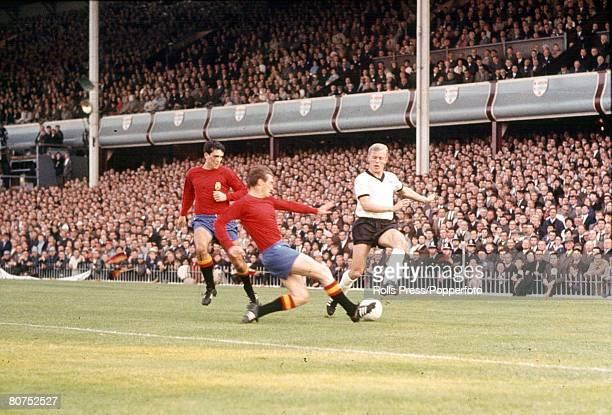 World Cup Finals Birmingham England 20th July West Germany 2 v Spain 1 Spanish lefthalf Ignacio Zoco kicks to block a shot from Sigfried Held of...