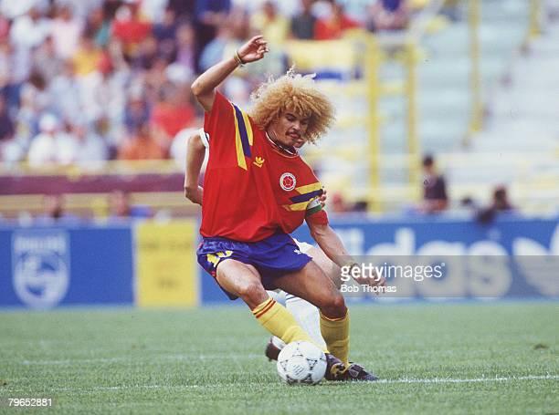 World Cup Finals Bologna Italy 14th June Yugoslavia 1 v Colombia 0 Colombia's Carlos Valderrama