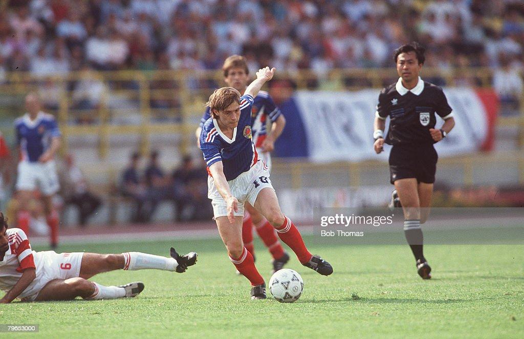 1990 World Cup Finals, Bologna, Italy, 19th June, 1990, Yugoslavia 4 v United Arab Emirates 1, Yugoslavia's Dragan Stojkovic takes on the UAE defence : News Photo
