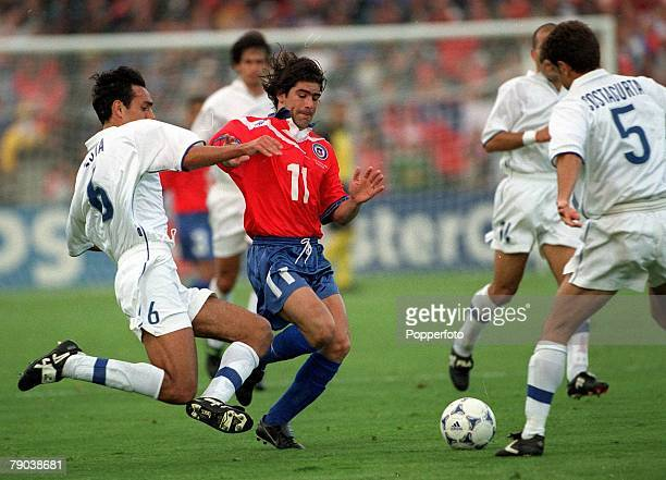 World Cup Finals Bordeaux France 11th JUNE 1998 Italy 2 v Chile 2 Marcelo Salas Chile is tackled by Italy's Alessandro Nesta