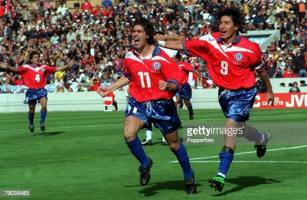 World Cup Finals Bordeaux France 11th JUNE 1998 Italy 2 v Chile 2 Chile's Marcelo Salas celebrates scoring his second goal of the match with team...