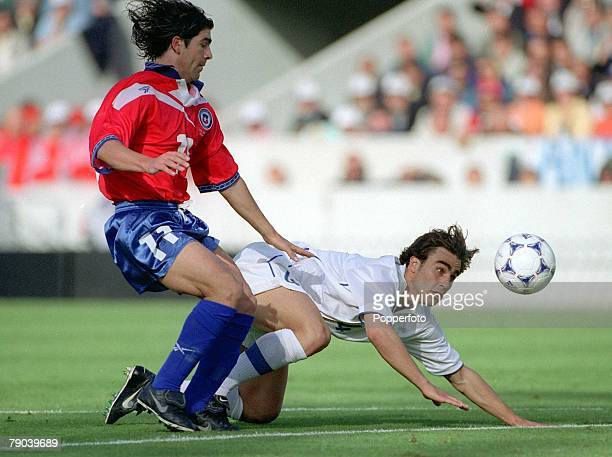 World Cup Finals Bordeaux France 11th JUNE 1998 Italy 2 v Chile 2 Chile's Marcelo Salas with the falling Fabio Cannavaro of Italy
