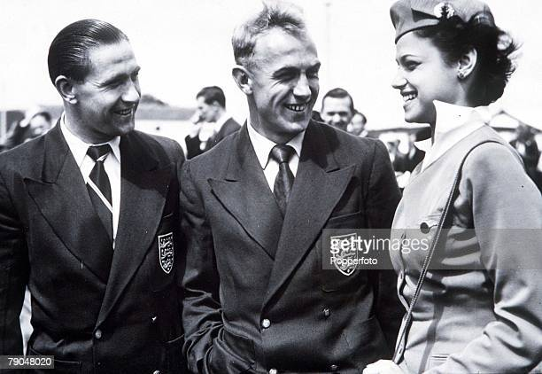 World Cup Finals Brazil England captain Billy Wright centre and Stan Mortensen before they fly to Rio de Janeiro for the finals