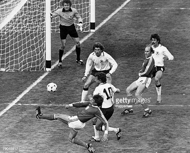 World Cup Finals Buenos Aires Argentina 1st June West Germany 1 v Poland 1 Poland's Adam Nawalka stretches to cross towards teammate Lato while...