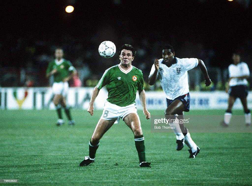 1990 World Cup Finals, Cagliari, Italy, 11th June, 1990, England 1 v Republic Of Ireland 1, Republic of Ireland's Ray Houghton : News Photo