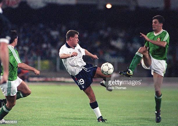 World Cup Finals Cagliari Italy 11th June England 1 v Republic Of Ireland 1 England's Paul Gascoigne battles for the ball with Republic of Ireland's...