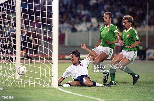 World Cup Finals Cagliari Italy 11th June England 1 v Republic Of Ireland 1 England's Gary Lineker scores the opening goal in front of Republic Of...