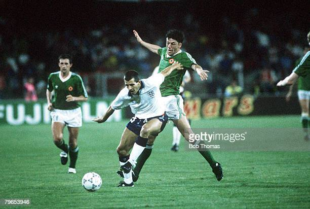 World Cup Finals Cagliari Italy 11th June England 1 v Republic Of Ireland 1 England's Steve Bull is challenged for the ball by Republic Of Ireland's...