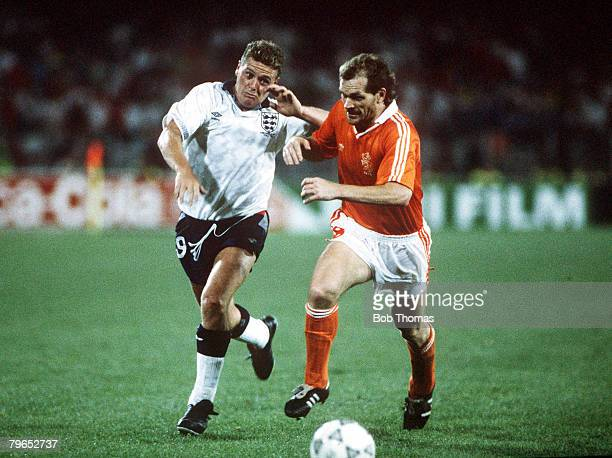 World Cup Finals Cagliari Italy 16th June England 0 v Holland 0 Holland's Jan Wouters races for the ball with England's Paul Gascoigne