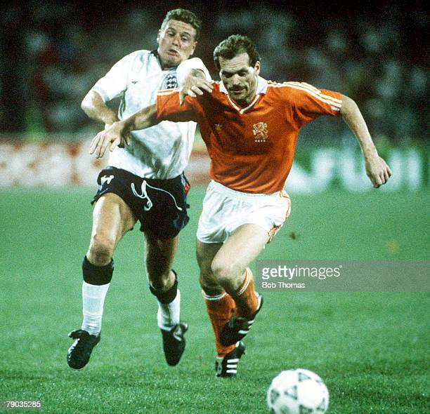 World Cup Finals Cagliari Italy 16th June England 0 v Holland 0 England's Paul Gascoigne chases Holland's Jan Wouters for the ball