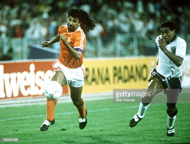 World Cup Finals Cagliari Italy 16th June England 0 v Holland 0 Holland's Ruud Gullit is chased by England's Des Walker in a race for the ball
