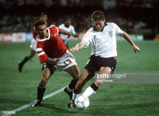 World Cup Finals Cagliari Italy 21st June England 1 v Egypt 0 England's Chris Waddle moves away from Egypt's Ahmed Ramzy with the ball