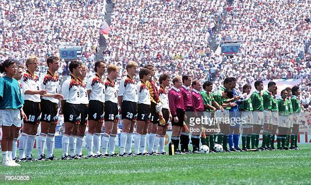 World Cup Finals Chicago USA 17th June Germany 1 v Bolivia 0 The two teams line up before the tournament's opening game