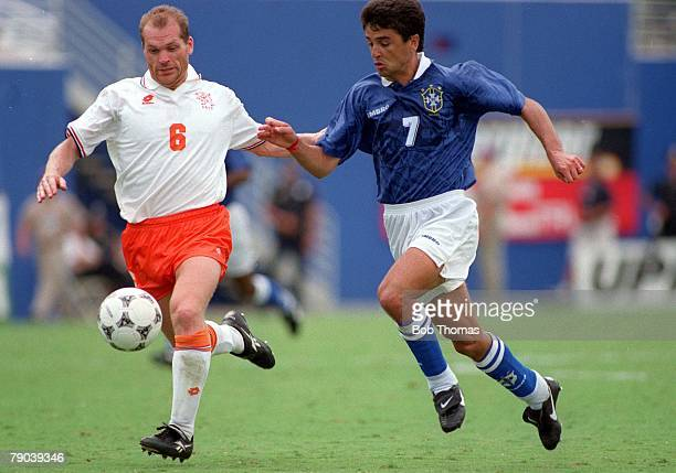 World Cup Finals Dallas USA 9th July Brazil 3 v Holland 2 Brazil's Bebeto moves past Holland's Jan Wouters to score the second goal